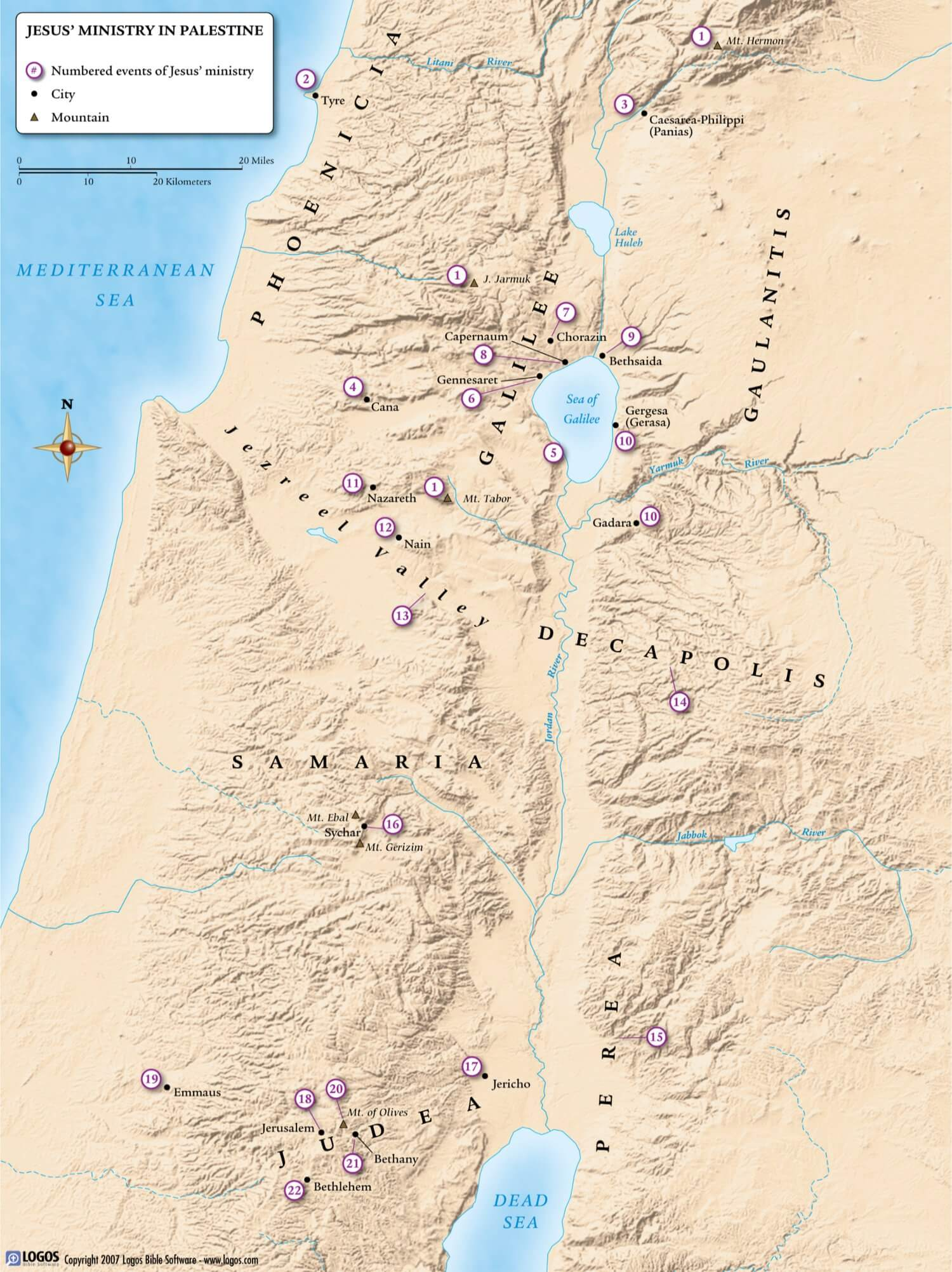 Jesus Ministry in Palestine map
