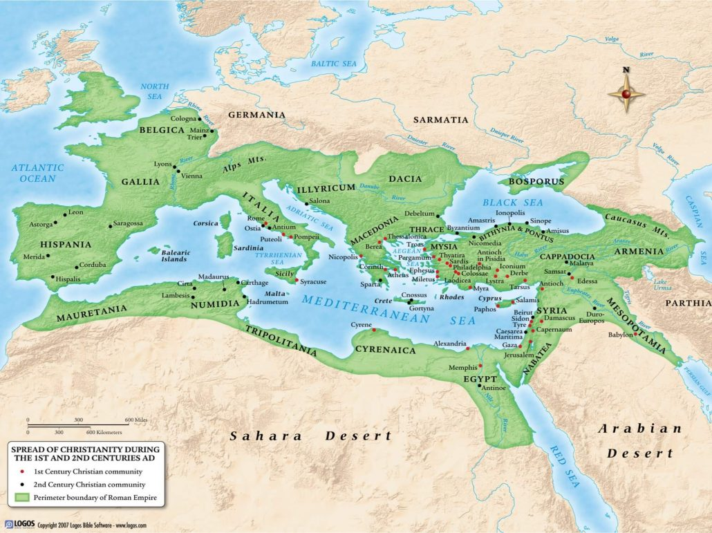 Spread of Christianity during 1st and 2nd Centuries